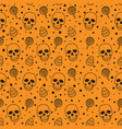 skull and sweets seamless pattern on orange vector image vector image