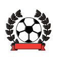 soccer ball emblem sport banner vector image vector image