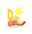 sources of vitamin d chicken eggs butter cheese vector image