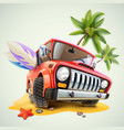 summer jeep car on beach with palm vector image vector image