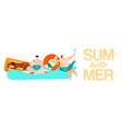 summer rest hello summer inscription on banner vector image vector image