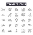 traveler line icons for web and mobile design vector image vector image