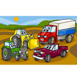 vehicles machines group cartoon vector image vector image