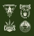 vintage monochrome marijuana logos collection vector image
