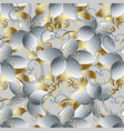 white 3d flowers seamless pattern vintage vector image