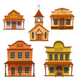wild west buildings set cowboy style design vector image vector image