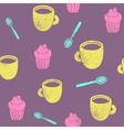 Cute teatime pattern Cupcake cups spoons vector image