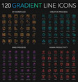 120 trendy gradient style thin line icons set of vector image vector image