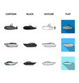 a military submarine a speedboat a pleasure boat vector image vector image