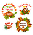 autumn sale discount shopping icons set vector image vector image
