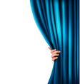 Background with woman hand with blue curtain vector image vector image