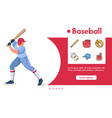 banner baseball batter and linear icons set vector image
