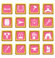 blacksmith icons pink vector image vector image