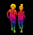 boy and girl running together children running ca vector image