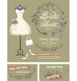 Bridal shower invitation set Bridal dressfloral vector image