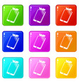 broken screen smartphone icons set 9 color vector image vector image