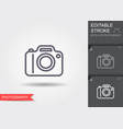 camera line icon with editable stroke with shadow vector image