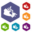 canada map icons set hexagon vector image vector image