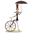 Cartoon man rides a bike vector image vector image