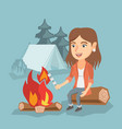 caucasian girl roasting marshmallow over campfire vector image vector image