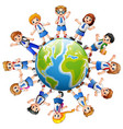 children around the earth isolated on white backgr vector image vector image