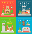 Christmas interior decoration flat design vector image vector image