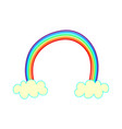 color a rainbow in the clouds drawn by hand vector image vector image