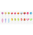 colorful lollipop set round and spiral sweet vector image
