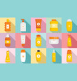 cosmetic sun protection icon set flat style vector image