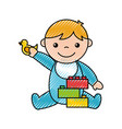 cute boy baby with toys avatar character vector image