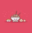 cute noodle ramen bowl sushi and dumpling set vector image
