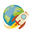 earth world with rocket flying vector image vector image