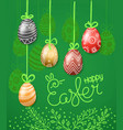 easter greeting card easter eggs 3d and in doodle vector image vector image