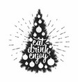 eat drink and enjoy holiday lettering vector image