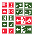 evacuation and emergency signs in green and red vector image vector image