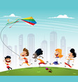 group of multiracialkids running in the park with vector image vector image