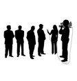interview with group of people with cameraman vector image vector image