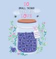 jar of blueberry jam with cute kawaii berries vector image vector image
