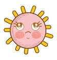 Kawaii sun thinking with eyes and cheeks vector image