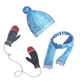 knitted hat scarf and mittens vector image