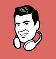 man retro style with headphones around the head vector image