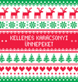 Merry Christmas in Hungarian pattern - Kellemes Ka vector image vector image