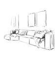 modern interior room sketch hand drawn sofa vector image vector image