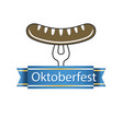 oktoberfest blue ribbon sausage on the fork vector image vector image