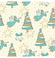 pattern with angel bells and christmas tree vector image vector image