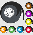Pizza Icon Symbols on eight colored buttons vector image vector image