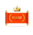realistic detailed 3d golden crown and red scroll vector image