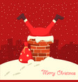 santa claus stuck in chimney in christmas vector image vector image