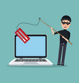 scene color laptop with thief man hacker with vector image vector image