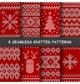 seamless red and white knitted background vector image